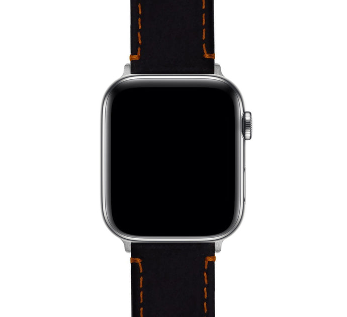 Apple Watch | Black Leather & Orange Stitching
