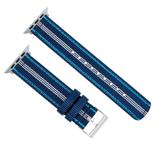 Load image into Gallery viewer, Apple Watch | Two-piece NATO Style | Navy & Aqua Blue - Barton Watch Bands