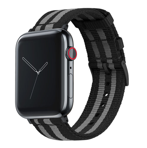 Apple Watch | Two-piece NATO Style | Smoke & Black Bond - Barton Watch Bands