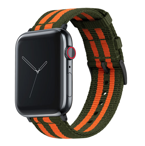 Apple Watch | Two-piece NATO Style | Army Green & Orange - Barton Watch Bands