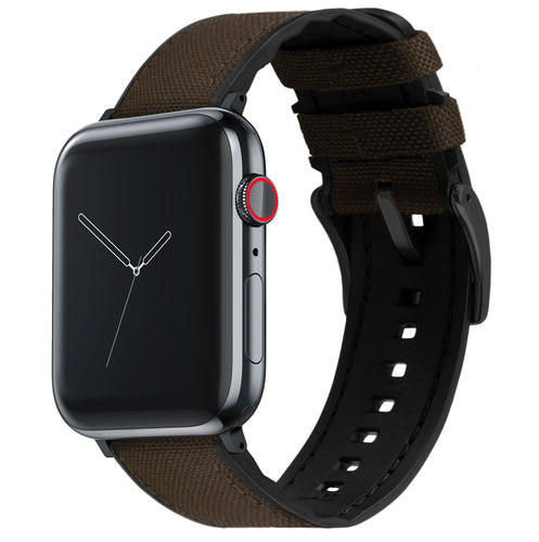 Apple Watch | Chocolate Brown Cordura® Fabric and Silicone Hybrid - Barton Watch Bands