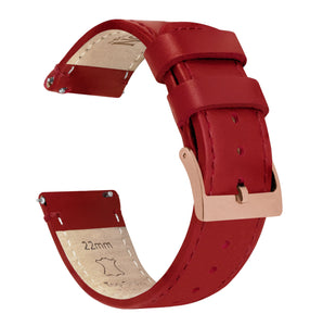 Crimson Red Leather | Red Stitching - Barton Watch Bands