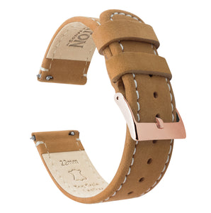 Fossil Sport | Gingerbread Brown Leather & Linen White Stitching - Barton Watch Bands