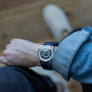 Load image into Gallery viewer, Navy Blue | Leather NATO Style - Barton Watch Bands
