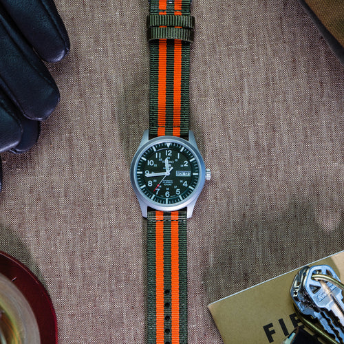 Army Green & Orange | Two-Piece NATO Style - Barton Watch Bands