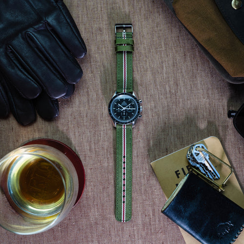 Army Green & Crimson | Two-Piece NATO Style - Barton Watch Bands