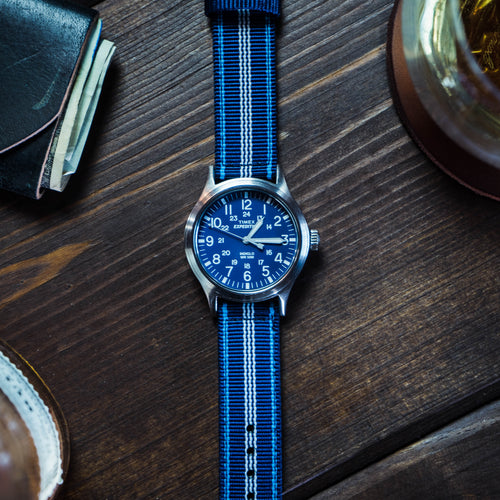 Navy & Aqua Blue | Two-Piece NATO Style - Barton Watch Bands