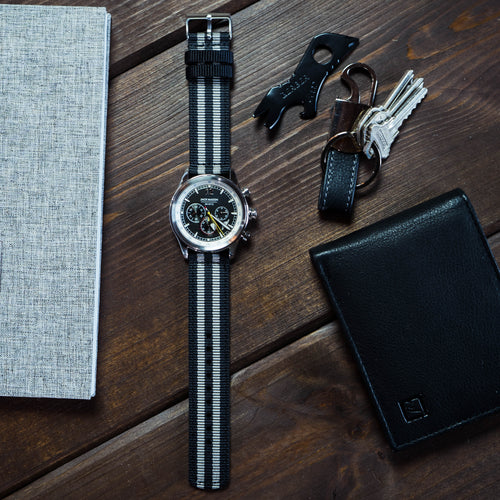 Black & Smoke Bond | Two-Piece NATO Style - Barton Watch Bands