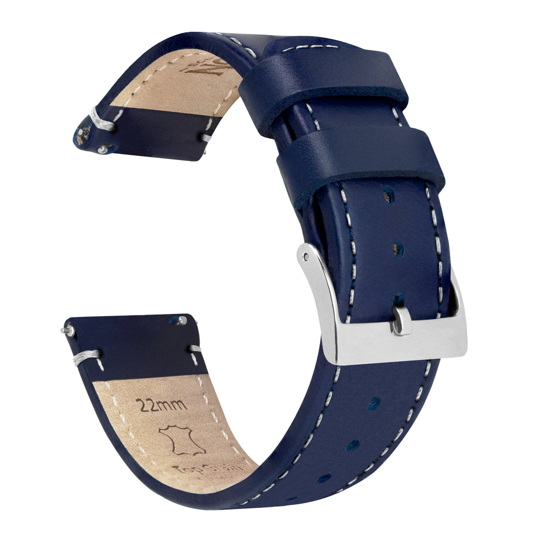 Pebble Smart Watches | Navy Blue Leather & Linen White Stitching