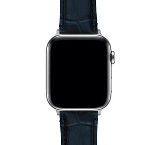 Load image into Gallery viewer, Apple Watch | Navy Blue Alligator Grain Leather - Barton Watch Bands