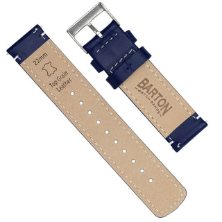 Load image into Gallery viewer, Navy Blue Leather | Linen Stitching