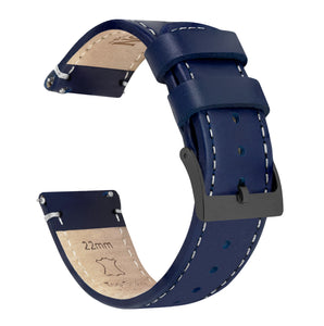 Navy Blue Leather | Linen Stitching - Barton Watch Bands