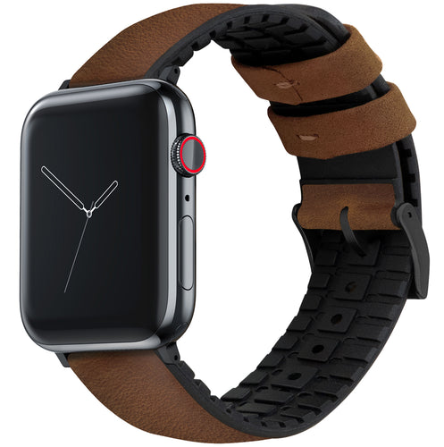 Apple Watch | Oak Brown Leather and Rubber Hybrid - Barton Watch Bands