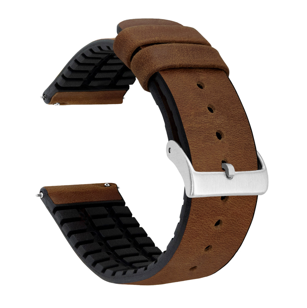 Oak Brown Leather and Rubber Hybrid - Barton Watch Bands