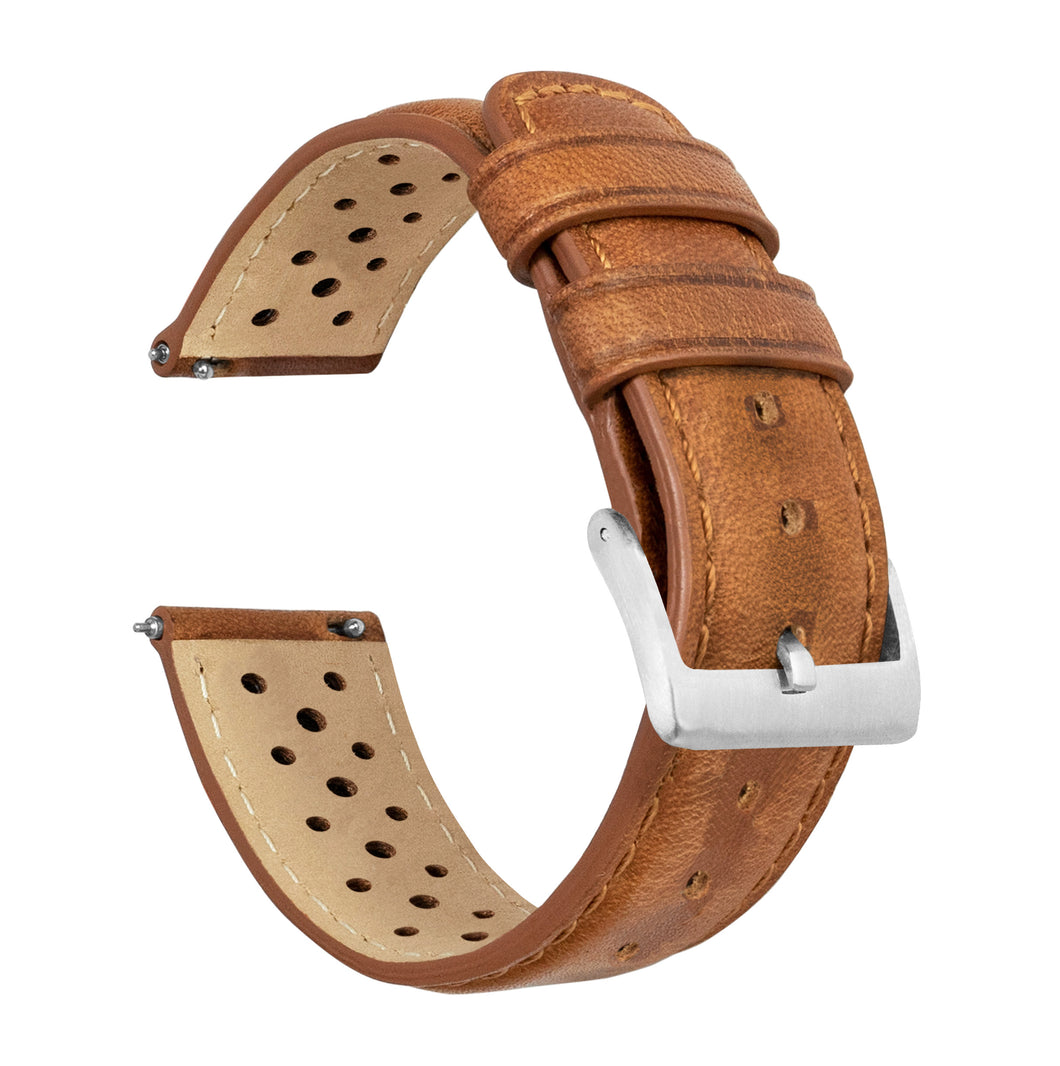 Fossil Sport | Racing Horween Leather | Caramel Brown - Barton Watch Bands