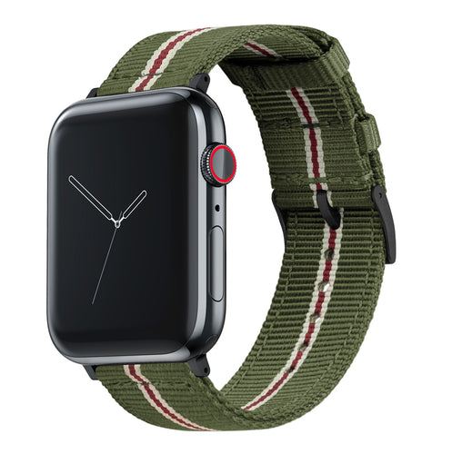 Apple Watch | Two-piece NATO Style | Army Green & Crimson - Barton Watch Bands