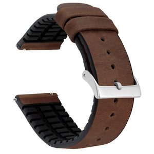 Walnut Brown Leather and Rubber Hybrid - Barton Watch Bands