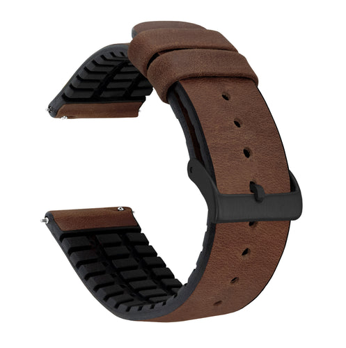 Samsung Galaxy Watch3 | Leather and Rubber Hybrid | Walnut Brown - Barton Watch Bands