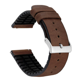 Load image into Gallery viewer, Mobvoi TicWatch | Leather and Rubber Hybrid | Walnut Brown - Barton Watch Bands