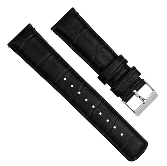 Amazfit Bip | Black Alligator Grain Leather Amazfit Bip Barton Watch Bands