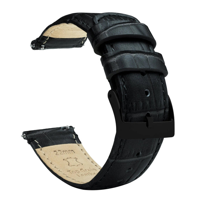 Amazfit Bip | Black Alligator Grain Leather Amazfit Bip Barton Watch Bands Black PVD