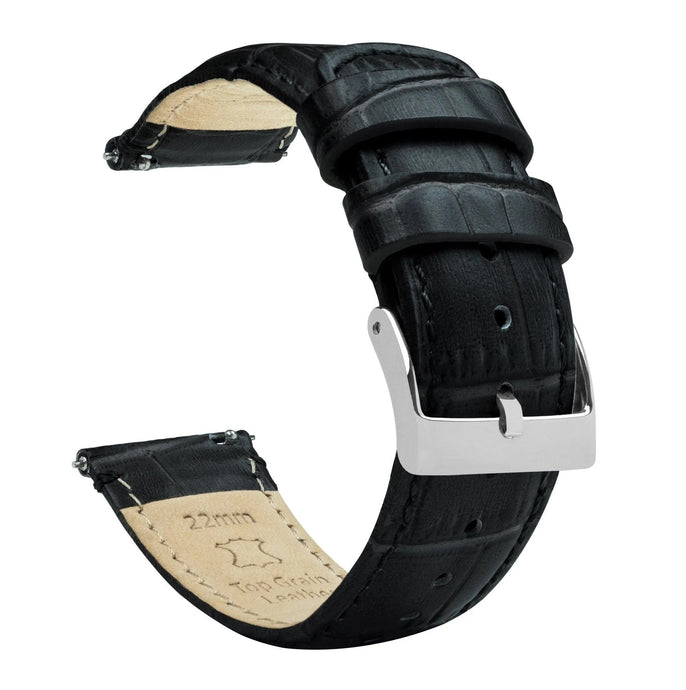 Amazfit Bip | Black Alligator Grain Leather Amazfit Bip Barton Watch Bands Stainless Steel