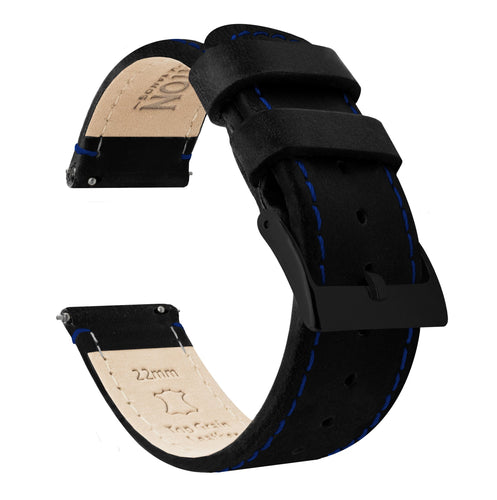 Amazfit Bip | Black Leather & Blue Stitching Amazfit Bip Barton Watch Bands Black PVD