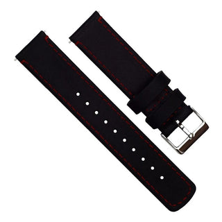 Load image into Gallery viewer, Amazfit Bip | Black Leather & Crimson Red Stitching Amazfit Bip Barton Watch Bands