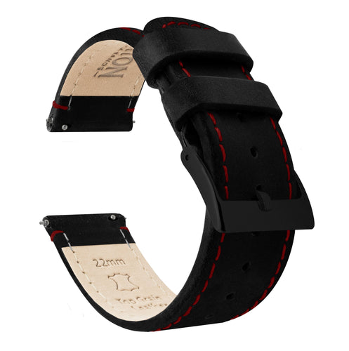 Amazfit Bip | Black Leather & Crimson Red Stitching Amazfit Bip Barton Watch Bands Black PVD