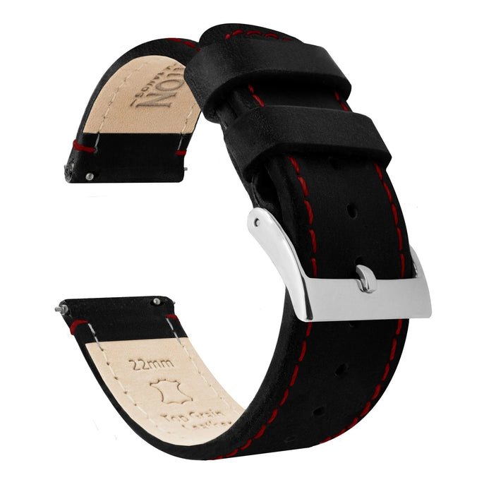 Amazfit Bip | Black Leather & Crimson Red Stitching Amazfit Bip Barton Watch Bands Stainless Steel