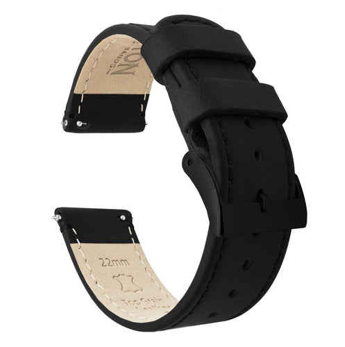 Amazfit Bip | Black Leather & Stitching Amazfit Bip Barton Watch Bands Black PVD
