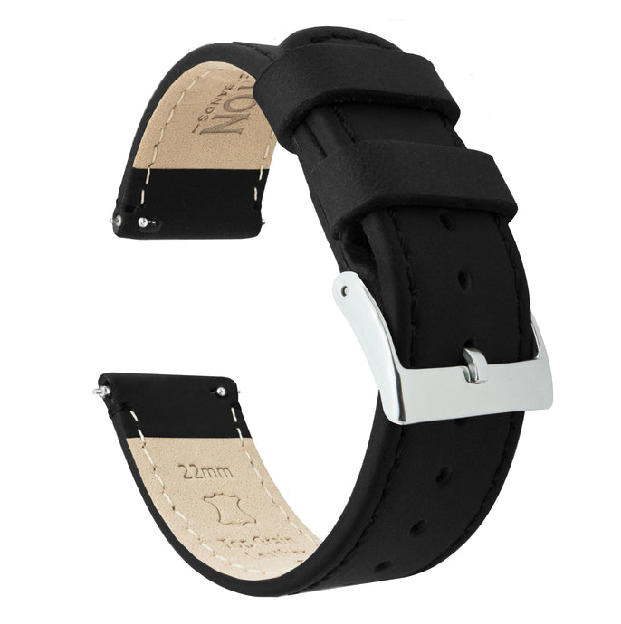 Amazfit Bip | Black Leather & Stitching Amazfit Bip Barton Watch Bands Stainless Steel