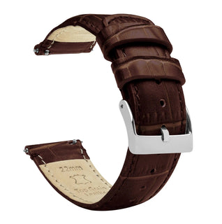 Load image into Gallery viewer, Amazfit Bip | Coffee Brown Alligator Grain Leather Amazfit Bip Barton Watch Bands Stainless Steel