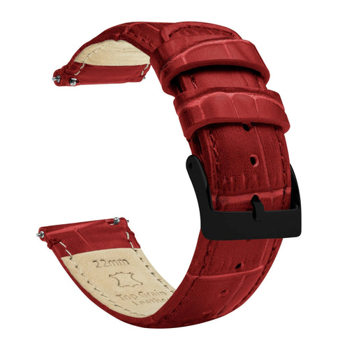 Amazfit Bip | Crimson Red Alligator Grain Leather Amazfit Bip Barton Watch Bands Black PVD