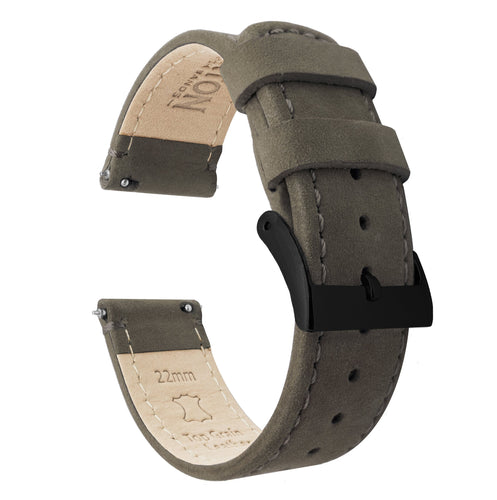 Amazfit Bip | Espresso Brown Leather & Stitching Amazfit Bip Barton Watch Bands Black PVD
