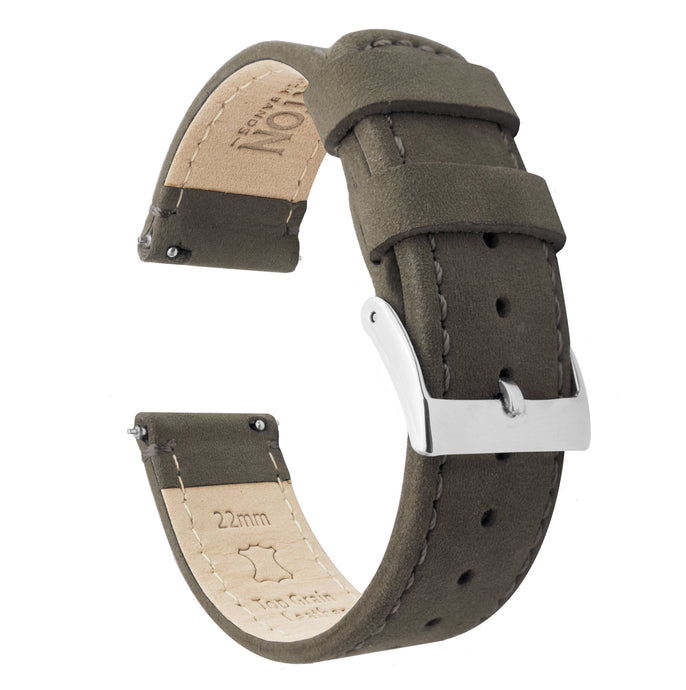 Amazfit Bip | Espresso Brown Leather & Stitching Amazfit Bip Barton Watch Bands Stainless Steel