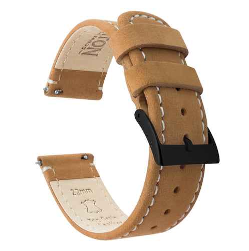 Amazfit Bip | Gingerbread Brown Leather & Linen White Stitching Amazfit Bip Barton Watch Bands Black PVD