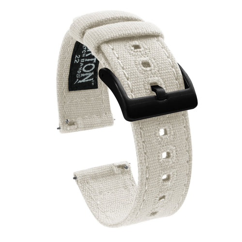 Amazfit Bip | Linen White Canvas Amazfit Bip Barton Watch Bands Black PVD