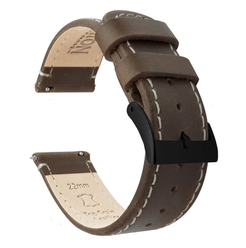 Amazfit Bip | Saddle Brown Leather & Linen White Stitching Amazfit Bip Barton Watch Bands Black PVD
