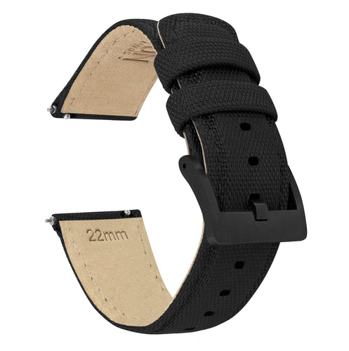 Amazfit Bip | Sailcloth Quick Release | Black Amazfit Bip Barton Watch Bands Black PVD