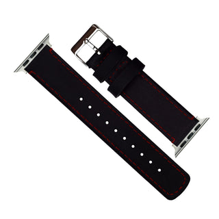 Load image into Gallery viewer, Apple Watch | Black Leather & Crimson Red Stitching Apple Watch Bands Barton Watch Bands