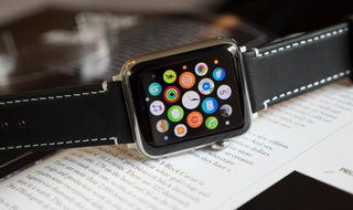 Load image into Gallery viewer, Apple Watch | Black Leather & Linen White Stitching Apple Watch Bands Barton Watch Bands