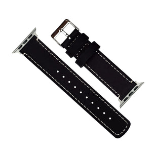 Apple Watch | Black Leather & Linen White Stitching Apple Watch Bands Barton Watch Bands