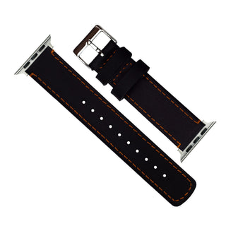 Load image into Gallery viewer, Apple Watch | Black Leather & Orange Stitching Apple Watch Bands Barton Watch Bands