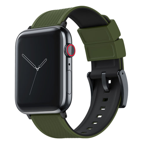 Apple Watch | Elite Silicone | Army Green Top / Black Bottom Apple Watch Bands Barton Watch Bands Small (38mm & 40mm) Black