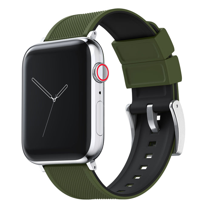 Apple Watch | Elite Silicone | Army Green Top / Black Bottom Apple Watch Bands Barton Watch Bands Small (38mm & 40mm) Stainless Steel