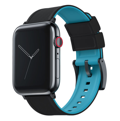 Apple Watch | Elite Silicone | Black Top / Aqua Blue Bottom Apple Watch Bands Barton Watch Bands Large (42mm & 44mm) Black