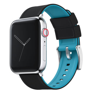 Load image into Gallery viewer, Apple Watch | Elite Silicone | Black Top / Aqua Blue Bottom Apple Watch Bands Barton Watch Bands Small (38mm & 40mm) Stainless Steel