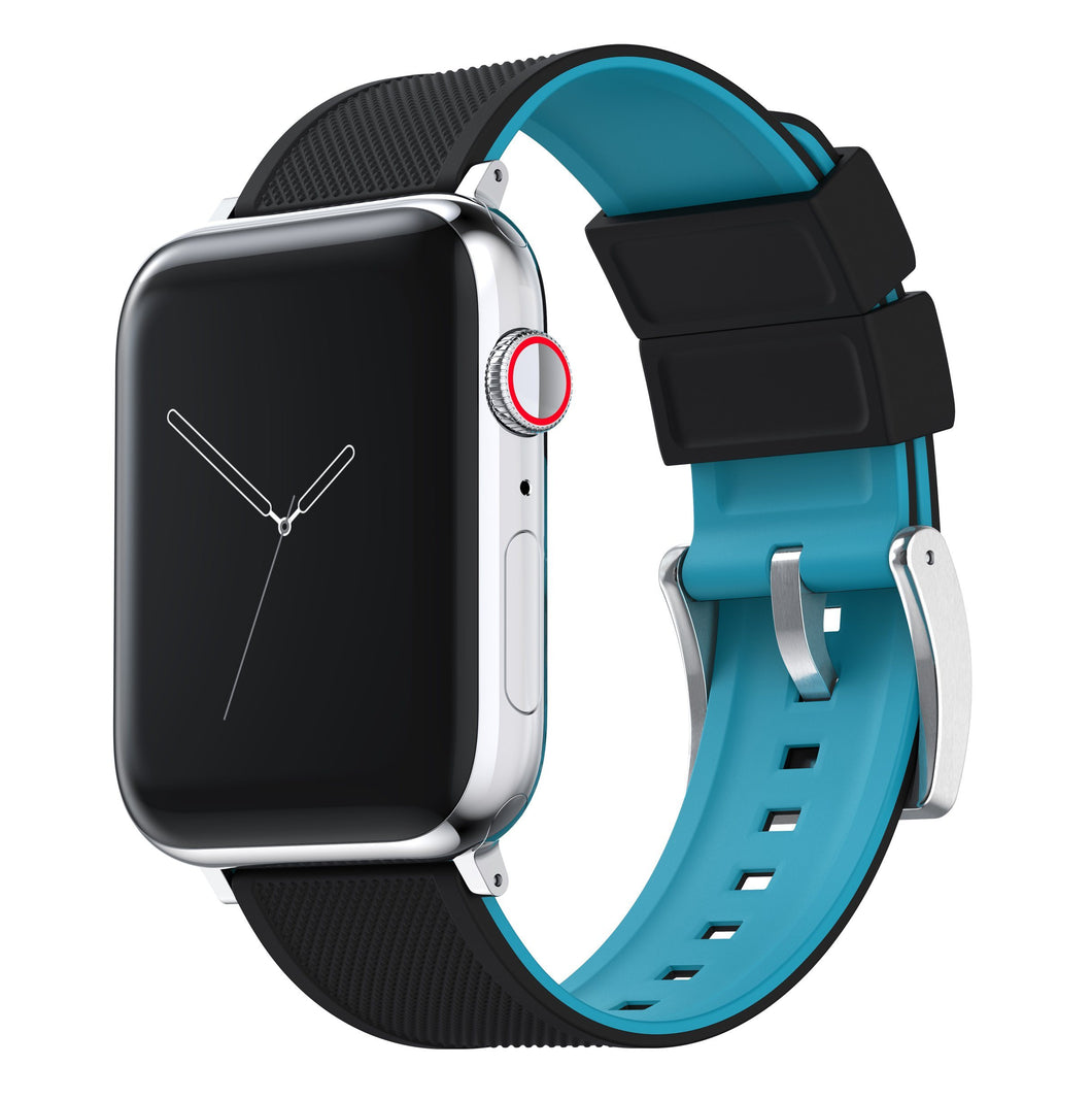 Apple Watch | Elite Silicone | Black Top / Aqua Blue Bottom Apple Watch Bands Barton Watch Bands Small (38mm & 40mm) Stainless Steel