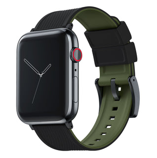 Load image into Gallery viewer, Apple Watch | Elite Silicone | Black Top / Army Green Bottom Apple Watch Bands Barton Watch Bands Large (42mm & 44mm) Black